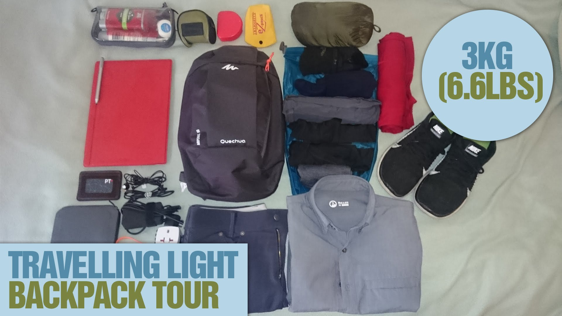 Travelling-Light-3kg-6lbs-backpack-with-laptop